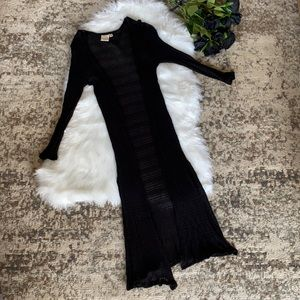Live in the Moment Black Open Front Duster Small